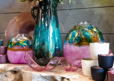 Colorful glass vases