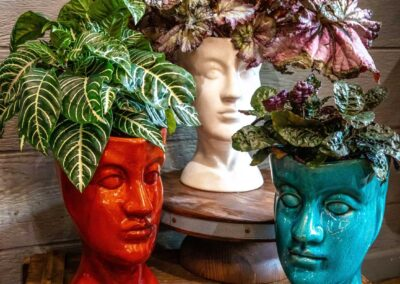 Head vase in glossy colors