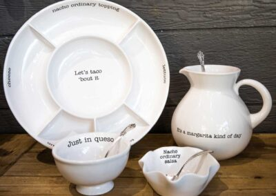 Taco plate and bowls with pitcher